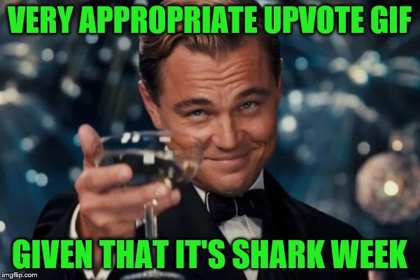 Leonardo Dicaprio Cheers Meme | VERY APPROPRIATE UPVOTE GIF GIVEN THAT IT'S SHARK WEEK | image tagged in memes,leonardo dicaprio cheers | made w/ Imgflip meme maker