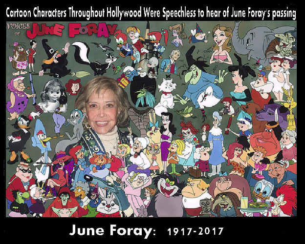 The world of animation has lost one of their most beloved voices. Generations of children grew up listening to her. Did you? | CARTOON CHARACTERS THROUGHOUT HOLLYWOOD WERE SPEECHLESS TO HEAR OF JUNE FORAY'S PASSING JUNE FORAY: 1917 2017 | image tagged in june foray,memes,tribute,rest in peace | made w/ Imgflip meme maker