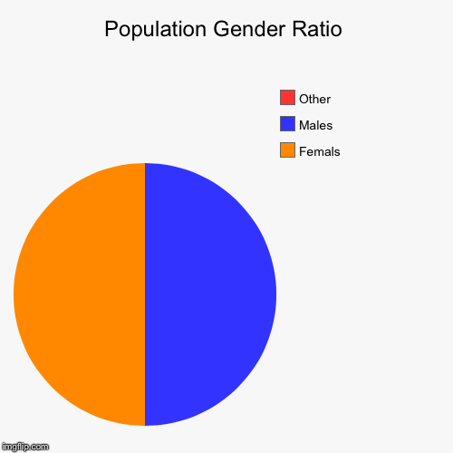 Population Gender Ratio | Femals, Males, Other | image tagged in funny,pie charts | made w/ Imgflip pie chart maker