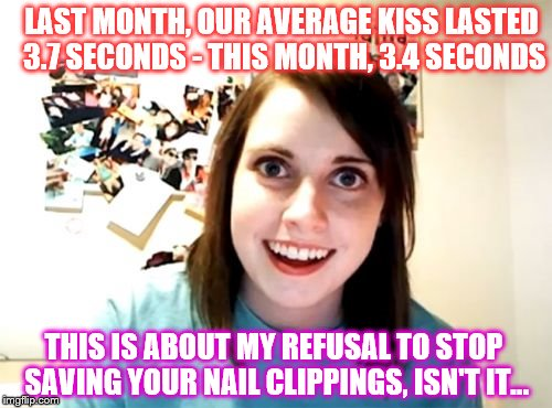Alright, who went and taught Overly Attached Girlfriend how to use Quicken Pro? | LAST MONTH, OUR AVERAGE KISS LASTED 3.7 SECONDS - THIS MONTH, 3.4 SECONDS THIS IS ABOUT MY REFUSAL TO STOP SAVING YOUR NAIL CLIPPINGS, ISN'T | image tagged in memes,overly attached girlfriend,phunny,funny,smooch accountant | made w/ Imgflip meme maker