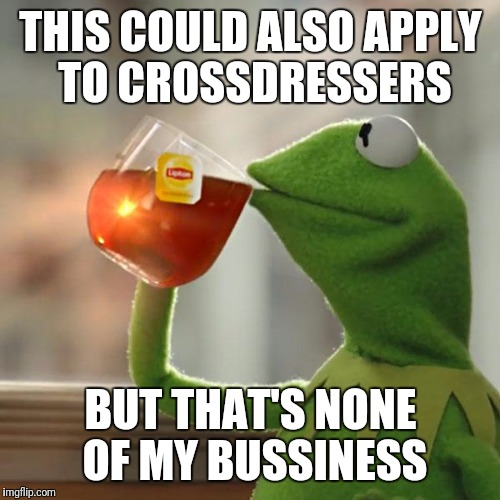 But Thats None Of My Business Meme | THIS COULD ALSO APPLY TO CROSSDRESSERS BUT THAT'S NONE OF MY BUSSINESS | image tagged in memes,but thats none of my business,kermit the frog | made w/ Imgflip meme maker