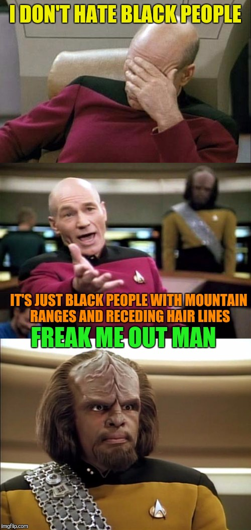 Picard is misunderstood  | I DON'T HATE BLACK PEOPLE IT'S JUST BLACK PEOPLE WITH MOUNTAIN RANGES AND RECEDING HAIR LINES FREAK ME OUT MAN | image tagged in funny memes,captain picard facepalm,picard wtf | made w/ Imgflip meme maker