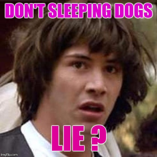 Tell Me The Truth On This... | DON'T SLEEPING DOGS LIE ? | image tagged in memes,conspiracy keanu | made w/ Imgflip meme maker
