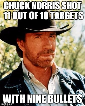 Chuck Norris Meme | CHUCK NORRIS SHOT 11 OUT OF 10 TARGETS WITH NINE BULLETS | image tagged in memes,chuck norris | made w/ Imgflip meme maker