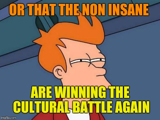 Futurama Fry Meme | OR THAT THE NON INSANE ARE WINNING THE CULTURAL BATTLE AGAIN | image tagged in memes,futurama fry | made w/ Imgflip meme maker