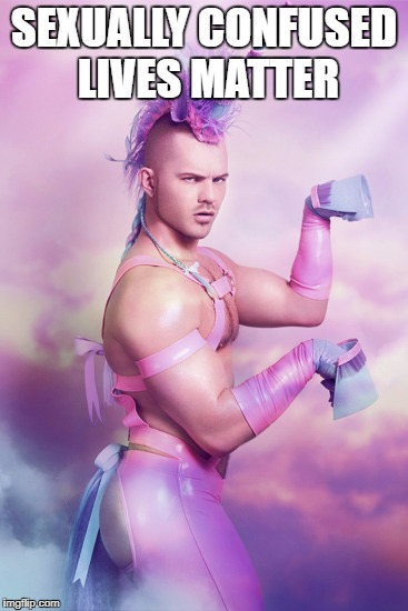 Pink Fluffy Unicorn Guy | SEXUALLY CONFUSED LIVES MATTER | image tagged in pink fluffy unicorn guy | made w/ Imgflip meme maker