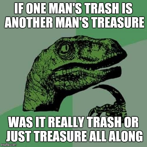 Philosoraptor Meme | IF ONE MAN'S TRASH IS ANOTHER MAN'S TREASURE WAS IT REALLY TRASH OR JUST TREASURE ALL ALONG | image tagged in memes,philosoraptor | made w/ Imgflip meme maker