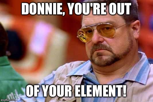 Walter The Big Lebowski | DONNIE, YOU'RE OUT OF YOUR ELEMENT! | image tagged in walter the big lebowski | made w/ Imgflip meme maker