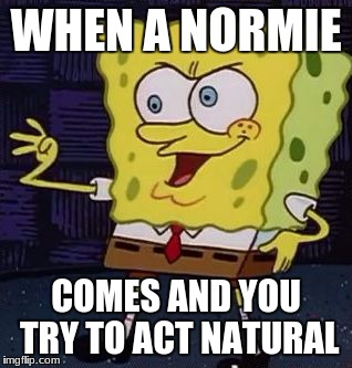WHEN A NORMIE COMES AND YOU TRY TO ACT NATURAL | image tagged in spongebob | made w/ Imgflip meme maker