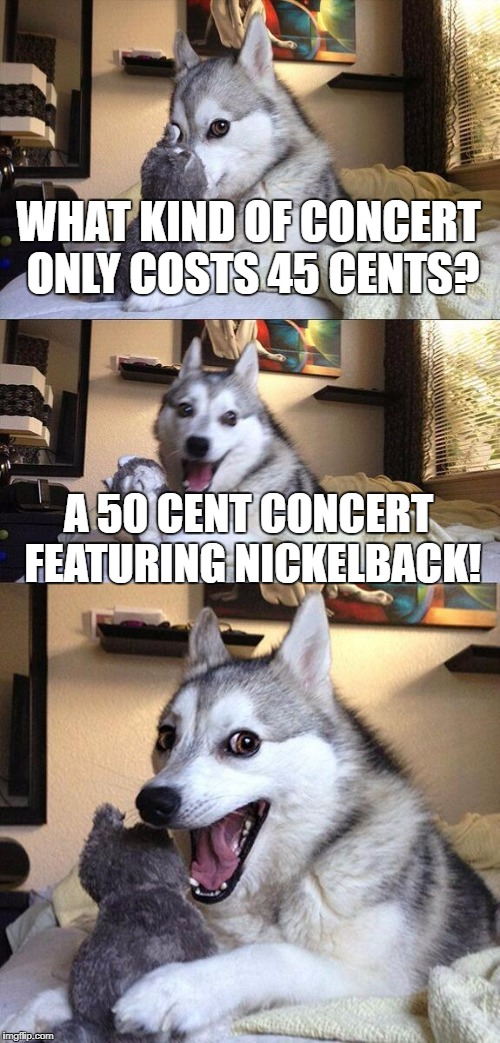 Bad Pun Dog Meme | WHAT KIND OF CONCERT ONLY COSTS 45 CENTS? A 50 CENT CONCERT FEATURING NICKELBACK! | image tagged in memes,bad pun dog | made w/ Imgflip meme maker