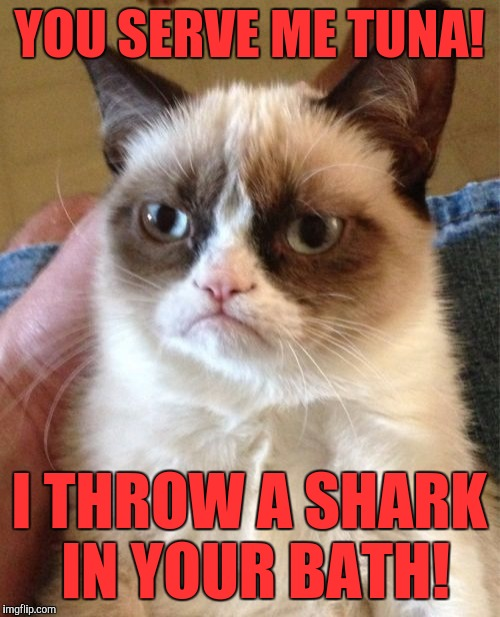 Shark week :) | YOU SERVE ME TUNA! I THROW A SHARK IN YOUR BATH! | image tagged in memes,grumpy cat | made w/ Imgflip meme maker