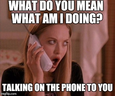 WHAT DO YOU MEAN WHAT AM I DOING? TALKING ON THE PHONE TO YOU | made w/ Imgflip meme maker