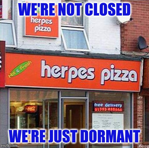 The owner was in jail... then he... broke out | WE'RE NOT CLOSED WE'RE JUST DORMANT | image tagged in herpes pizza | made w/ Imgflip meme maker