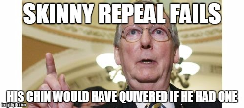 Mitch McConnell Meme | SKINNY REPEAL FAILS HIS CHIN WOULD HAVE QUIVERED IF HE HAD ONE | image tagged in memes,mitch mcconnell | made w/ Imgflip meme maker