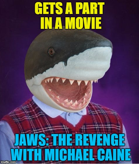 Not even Michael Caine has seen it... :) | GETS A PART IN A MOVIE JAWS: THE REVENGE WITH MICHAEL CAINE | image tagged in bad luck shark,memes,jaws,movies,michael caine | made w/ Imgflip meme maker