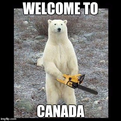 Chainsaw Bear Meme | WELCOME TO CANADA | image tagged in memes,chainsaw bear | made w/ Imgflip meme maker