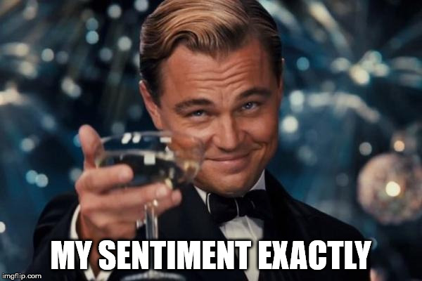 Leonardo Dicaprio Cheers Meme | MY SENTIMENT EXACTLY | image tagged in memes,leonardo dicaprio cheers | made w/ Imgflip meme maker