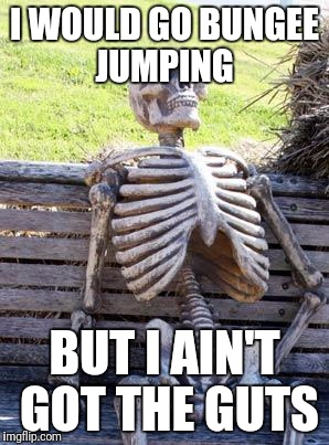 Waiting Skeleton Meme | I WOULD GO BUNGEE JUMPING BUT I AIN'T GOT THE GUTS | image tagged in memes,waiting skeleton | made w/ Imgflip meme maker