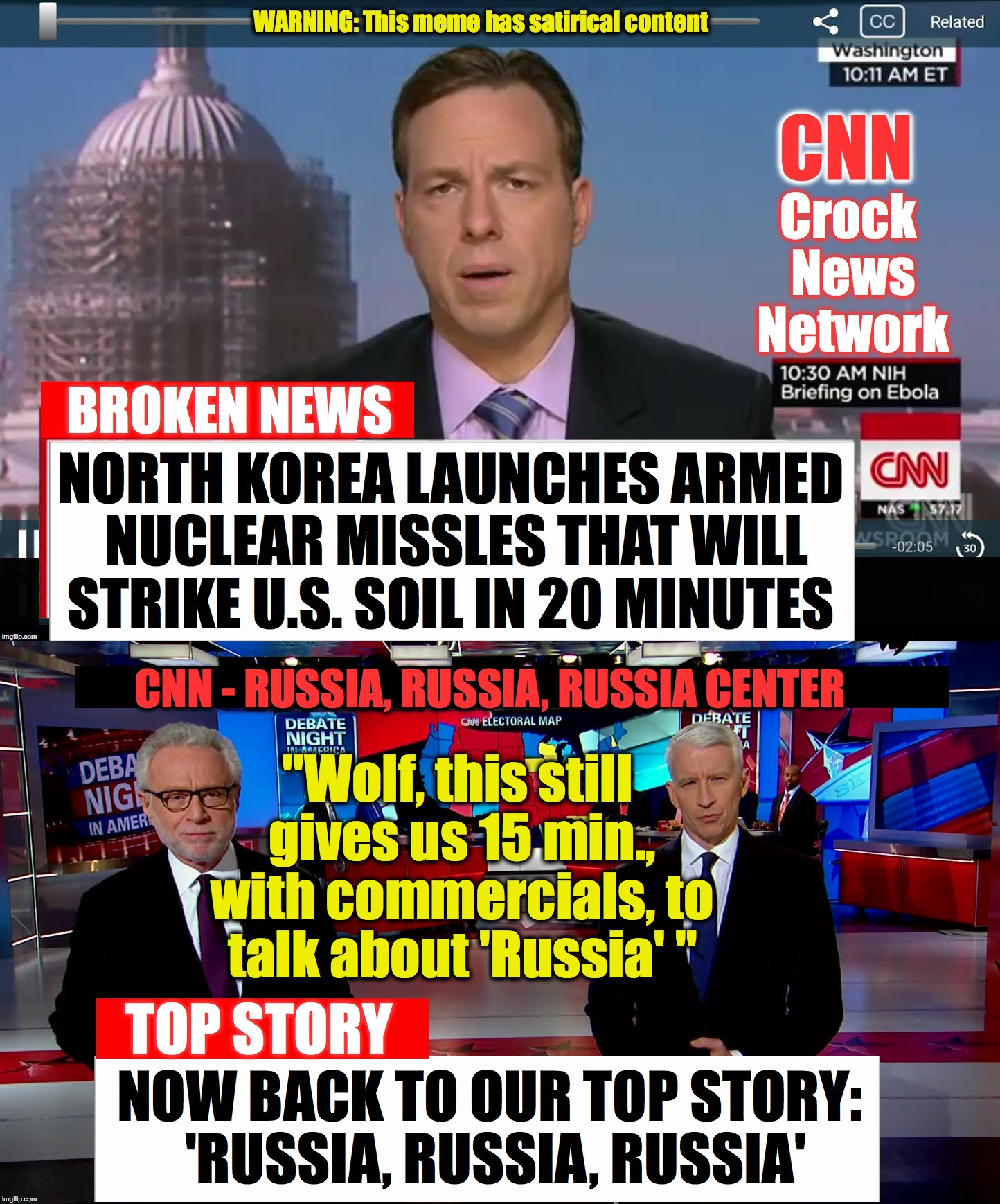 "I can actually picture this scenario... | NORTH KOREA LAUNCHES ARMED NUCLEAR MISSLES THAT WILL STRIKE U.S. SOIL IN 20 MINUTES ""Wolf, this still gives us 15 min., with commercials, to 