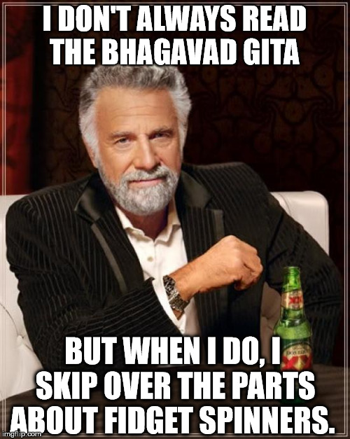 The Most Interesting Man In The World Meme | I DON'T ALWAYS READ THE BHAGAVAD GITA BUT WHEN I DO, I SKIP OVER THE PARTS ABOUT FIDGET SPINNERS. | image tagged in memes,the most interesting man in the world | made w/ Imgflip meme maker