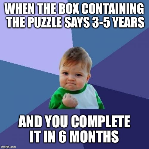 Success Kid Meme | WHEN THE BOX CONTAINING THE PUZZLE SAYS 3-5 YEARS AND YOU COMPLETE IT IN 6 MONTHS | image tagged in memes,success kid | made w/ Imgflip meme maker