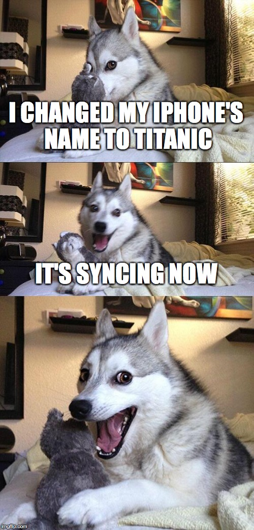 Bad Pun Dog Meme | I CHANGED MY IPHONE'S NAME TO TITANIC IT'S SYNCING NOW | image tagged in memes,bad pun dog | made w/ Imgflip meme maker