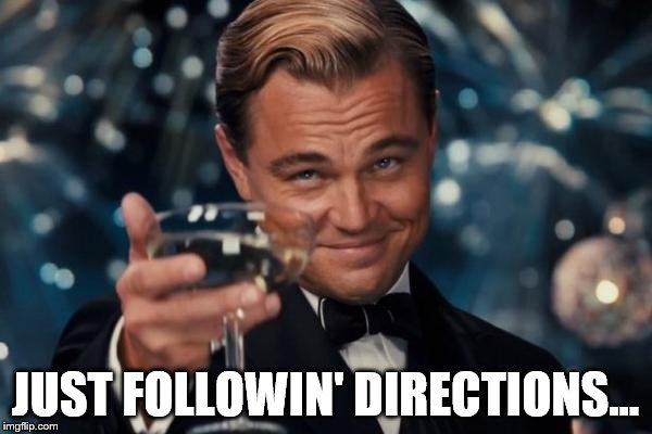 Leonardo Dicaprio Cheers Meme | JUST FOLLOWIN' DIRECTIONS... | image tagged in memes,leonardo dicaprio cheers | made w/ Imgflip meme maker