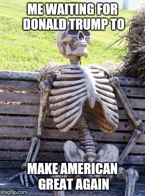 Waiting Skelton  | ME WAITING FOR DONALD TRUMP TO MAKE AMERICAN GREAT AGAIN | image tagged in memes,waiting skeleton | made w/ Imgflip meme maker
