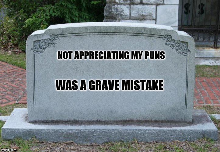 Blank Tombstone | NOT APPRECIATING MY PUNS WAS A GRAVE MISTAKE | image tagged in blank tombstone | made w/ Imgflip meme maker