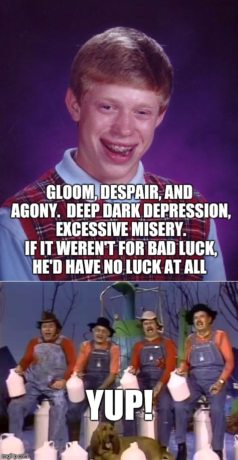 Brian would have been great in Hee-Haw!  | GLOOM, DESPAIR, AND AGONY.  DEEP DARK DEPRESSION, EXCESSIVE MISERY. IF IT WEREN'T FOR BAD LUCK, HE'D HAVE NO LUCK AT ALL YUP! | image tagged in hee-haw,jbmemegeek,bad luck brian | made w/ Imgflip meme maker