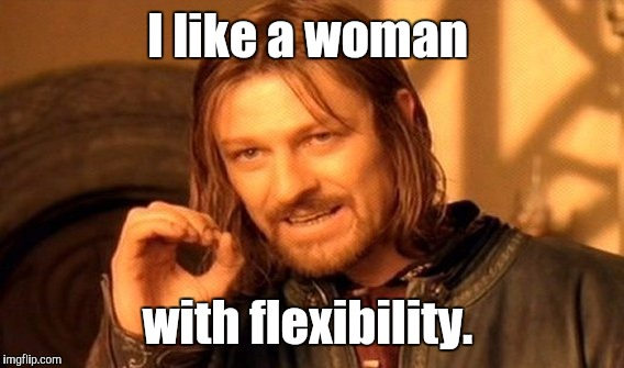 One Does Not Simply Meme | I like a woman with flexibility. | image tagged in memes,one does not simply | made w/ Imgflip meme maker