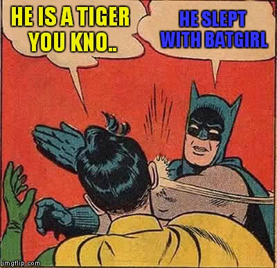 Batman Slapping Robin Meme | HE IS A TIGER YOU KNO.. HE SLEPT WITH BATGIRL | image tagged in memes,batman slapping robin | made w/ Imgflip meme maker