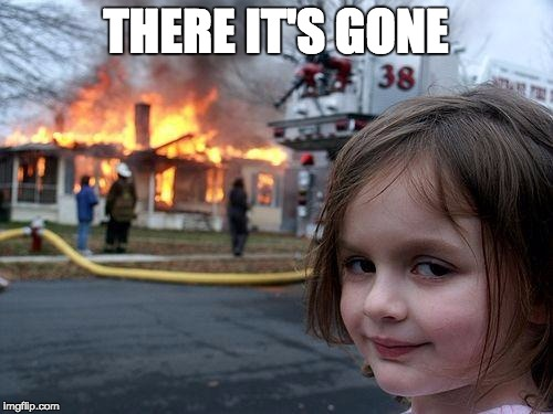 Disaster Girl Meme | THERE IT'S GONE | image tagged in memes,disaster girl | made w/ Imgflip meme maker