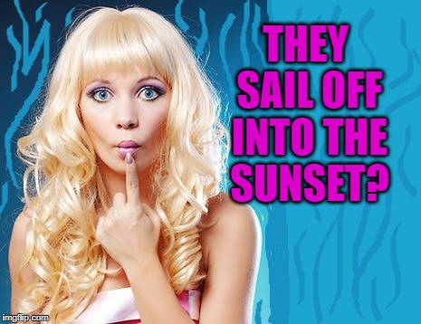 ditzy blonde | THEY SAIL OFF INTO THE SUNSET? | image tagged in ditzy blonde | made w/ Imgflip meme maker