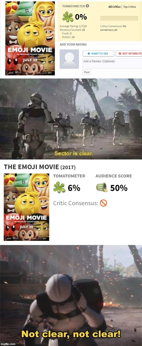 Ratings be like | image tagged in trailer,star wars battlefront,emoji movie | made w/ Imgflip meme maker