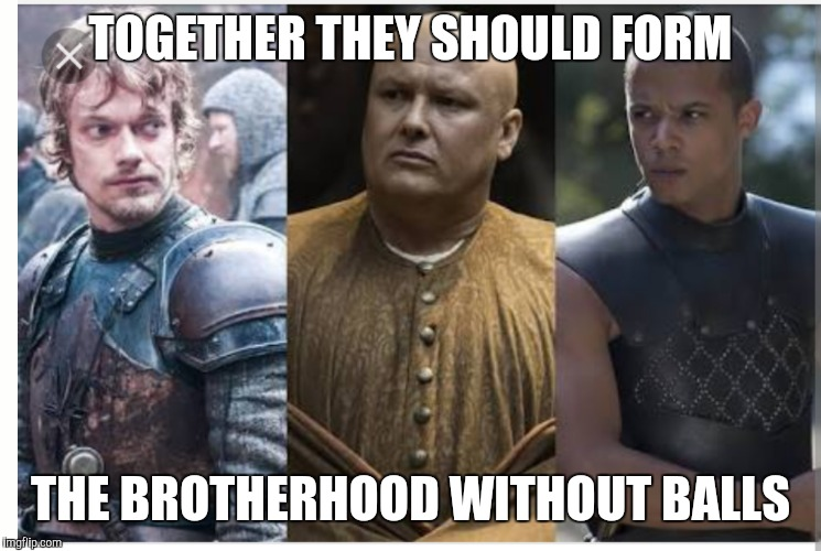 Brotherhood without balls | TOGETHER THEY SHOULD FORM THE BROTHERHOOD WITHOUT BALLS | image tagged in memes,funnymemes,game of thrones,theon greyjoy | made w/ Imgflip meme maker