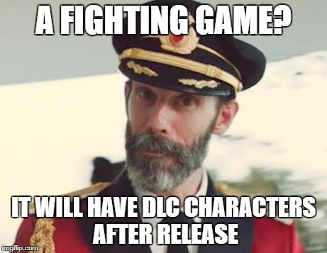 Captain Obvious | A FIGHTING GAME? IT WILL HAVE DLC CHARACTERS AFTER RELEASE | image tagged in captain obvious,video games,videogames,video game,dlc,fight | made w/ Imgflip meme maker
