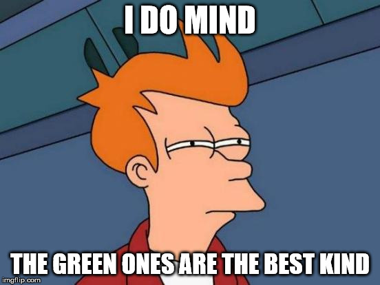 Futurama Fry Meme | I DO MIND THE GREEN ONES ARE THE BEST KIND | image tagged in memes,futurama fry | made w/ Imgflip meme maker