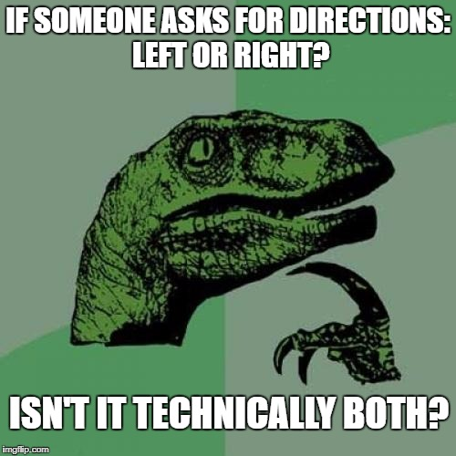 Philosoraptor Meme | IF SOMEONE ASKS FOR DIRECTIONS: LEFT OR RIGHT? ISN'T IT TECHNICALLY BOTH? | image tagged in memes,philosoraptor | made w/ Imgflip meme maker