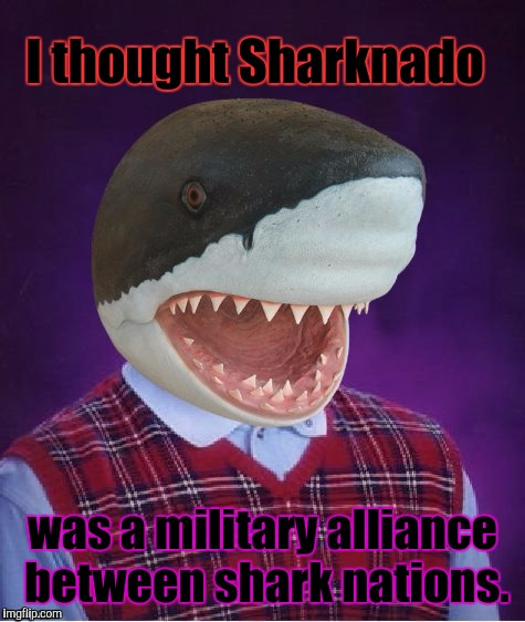 No that's NATO. | I thought Sharknado was a military alliance between shark nations. | image tagged in funny,bad luck shark,politics,humor,memes,animals | made w/ Imgflip meme maker
