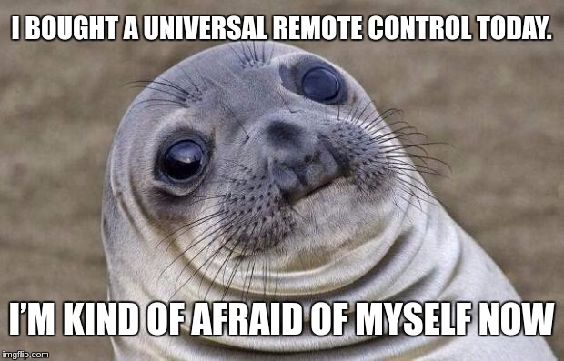With great power comes great responsibility. |  I BOUGHT A UNIVERSAL REMOTE CONTROL TODAY. I'M KIND OF AFRAID OF MYSELF NOW | image tagged in memes,responsibility,funny,remote,power,universal | made w/ Imgflip meme maker