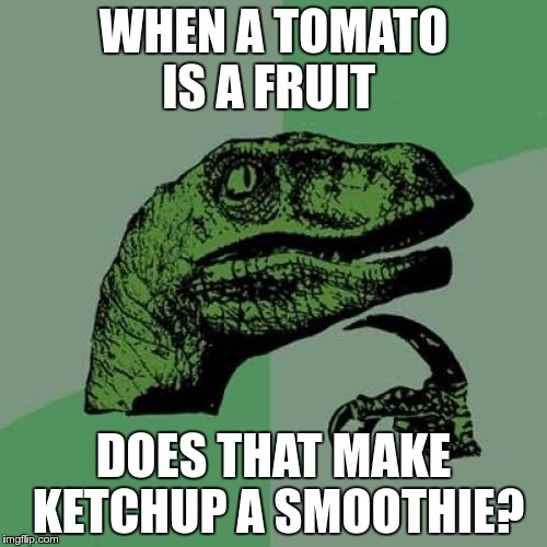 Science says that botanically, a tomato is a fruit… | WHEN A TOMATO IS A FRUIT DOES THAT MAKE KETCHUP A SMOOTHIE? | image tagged in memes,philosoraptor,botanic,tomato,science,fruit | made w/ Imgflip meme maker