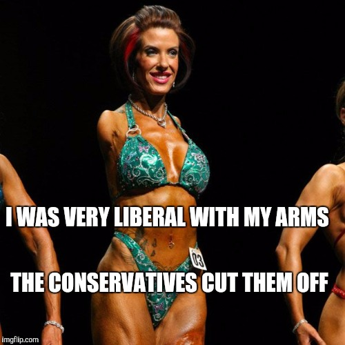 Memes, Female Bodybuilder | I WAS VERY LIBERAL WITH MY ARMS THE CONSERVATIVES CUT THEM OFF | image tagged in memes female bodybuilder | made w/ Imgflip meme maker