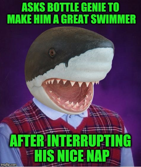ASKS BOTTLE GENIE TO MAKE HIM A GREAT SWIMMER AFTER INTERRUPTING HIS NICE NAP | image tagged in bad luck shark | made w/ Imgflip meme maker