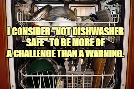 "I CONSIDER ""NOT DISHWASHER SAFE"" TO BE MORE OF A CHALLENGE THAN A WARNING. 