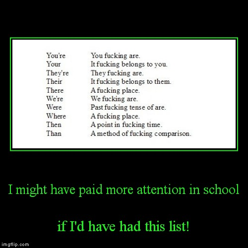To, too, and two are discussed in the comments! | I might have paid more attention in school | if I'd have had this list! | image tagged in funny,demotivationals,grammar | made w/ Imgflip demotivational maker