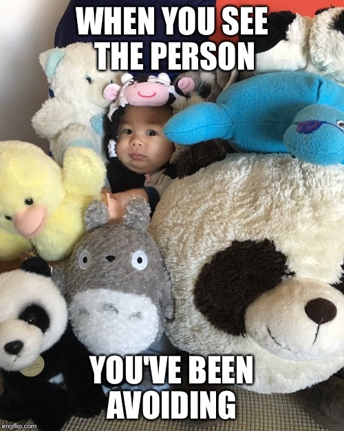 WHEN YOU SEE THE PERSON YOU'VE BEEN AVOIDING | image tagged in hiding,avoid,avoiding,baby,awkward,akward moment | made w/ Imgflip meme maker