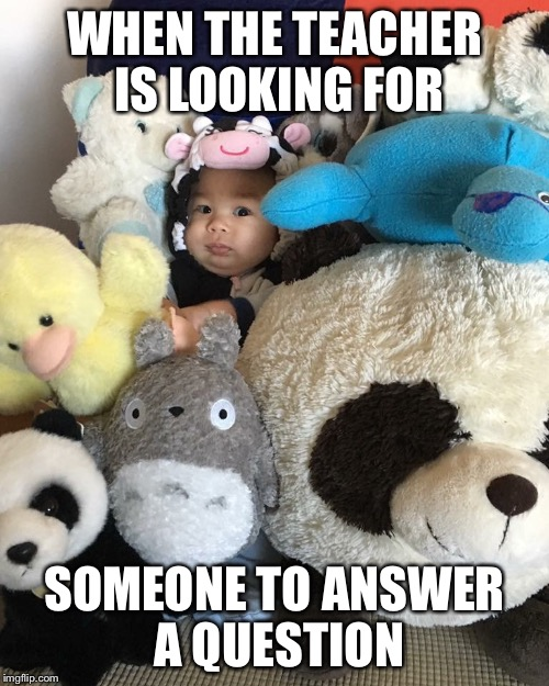 WHEN THE TEACHER IS LOOKING FOR SOMEONE TO ANSWER A QUESTION | image tagged in awkward,school,teacher,avoiding questions,hiding,baby | made w/ Imgflip meme maker
