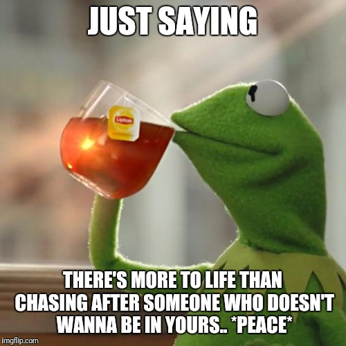 But Thats None Of My Business Meme | JUST SAYING THERE'S MORE TO LIFE THAN CHASING AFTER SOMEONE WHO DOESN'T WANNA BE IN YOURS.. *PEACE* | image tagged in memes,but thats none of my business,kermit the frog | made w/ Imgflip meme maker