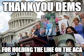 Thank you Dems! | THANK YOU DEMS FOR HOLDING THE LINE ON THE ACA | image tagged in senators | made w/ Imgflip meme maker
